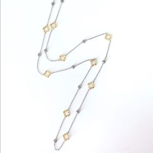 Two Tones Open Clover Long Necklace